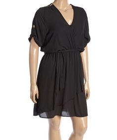 Look at this Black Empire-Waist Dress - Plus on #zulily today!