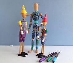 Bonecos de madeira articulados com POSCA | Canetas POSCA