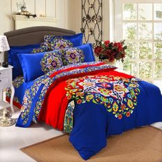Royal Blue Red and Yellow Colorful Bohemian Style Folklore Pattern Indian Tribal Print Fantasy Brushed Cotton Full, Queen Size Bedding Sets Royal Blue Bedding, Red Bedding Sets, Yellow Bedding, Cotton Bedding Sets, Queen Bedding Sets, Luxury Bedding Sets, Black Bedding, Bohemian Style Bedding, Boho Bedding