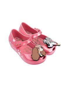 Mini Melissa Girls Mini Ultragirl Pink Azalea Lady and The Tramp Ballet Flat 8 M US Toddler