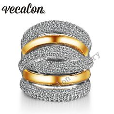 dhgate daily deals -Vecalon 234pcs Topaz Simulated diamond Cz Cross Engagement Wedding ring for Women 14KT White Yellow Gold Filled Female Band ring