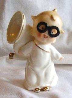TUBA PLAYING BOY ANGEL FIGURE Eyeglasses~VERY RARE~VINTAGE JAPAN CHINA FIGURINE