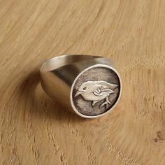 Silver Signet Ring  Bird Ring by artemer on Etsy, $150.00