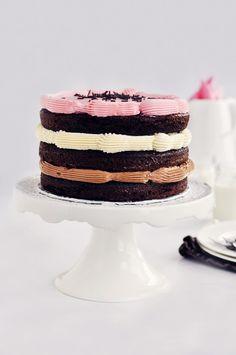Inside-Out Neapolitan Cake via Sweetapolita