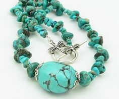 Chunky Turquoise Nugget Necklace by LKSoriginals on Etsy