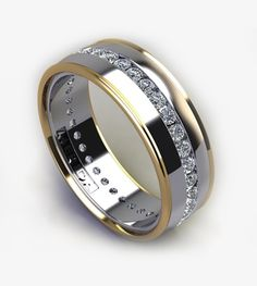 Our most popular wedding band for men. Made to order any way you like it. Diamonds, gemstones, half diamonds, gold, platinum, palladium, etc. Only limited by your imagination (and budget). Having HIS ring custom created will be a better story to share than the ring purchased from the showcase.