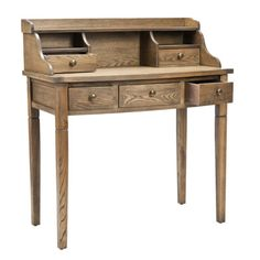 Old-world charm meets modern day convenience in this stylish writing desk. It is made from elm with a medium oak finish and boasts 5 drawers to organize all your important papers and office supplies.