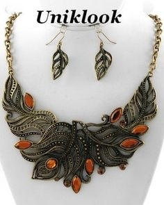 VINTAGE Look Marcasite GOLD TOPAZ FILIGREE FLORAL NECKLACE EARRINGS SET JEWELRY