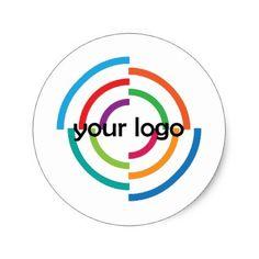 ADD Your LOGO CUSTOM company business CORPORATE Classic Round Sticker - business logo cyo personalize customize diy special
