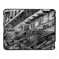 NYC EL TRAIN UNDERSIDE GIRDERS iPAD CASE, by The Flying Pig Gallery on Zazzle (lizadeyphoto) - This iPad case features a close-up view of the aged iron girders on the underside of an elevated subway track. Bronx, NYC.