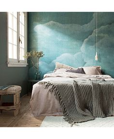 Bedrooms: Bedroom With Bright Blue Cloud Wallpaper - 15 Soothing Bedrooms That Take Inspiration from the Clouds. Dream Bedroom, Home Bedroom, Bedroom Decor, Bedrooms, Bedroom Wall, Bedroom Ideas, Bedroom Black, Cloud Wallpaper, Brown Wallpaper