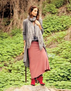 O'neill Maxi Skirt, salmon and gray Lots of Layers
