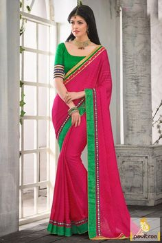 New latest pink and green color chiffon saree material at low price. New fashion and style printed embroidery work saree for special occasions. #saree, #designersaree more: http://www.pavitraa.in/store/designer-sarees/