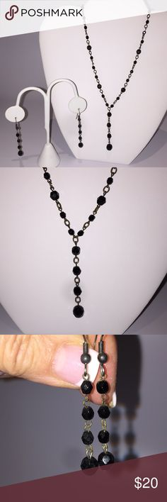 "Vintage black crystal necklace and earring set. Vintage Black Necklace and drop Earring Set. Necklace is 17"" long. Earrings have a 2"" drop. Krystals by Bellagio Jewelry Necklaces"