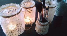 svietniky z fliaš a záclony Mason Jar Lamp, Table Lamp, Home Decor, Homemade Home Decor, Table Lamps, Decoration Home, Buffet Lamps, Interior Decorating