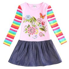 IGOFlower little girls skirt cotton Long sleeve dress NBL10_56y -- Details can be found by clicking on the image.