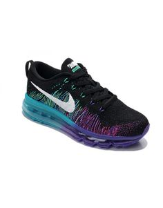 nike womens air max flyknit running shoes black and purple 408c