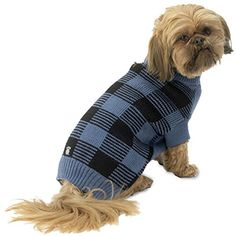 Checkers Checkered Blue  Black Dog Sweater  Large * Want additional info? Click on the image.