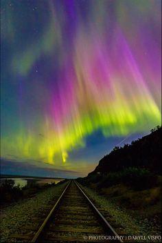 Aurora over Tracks, by Daryll John Vispo.. ~ Alaska*