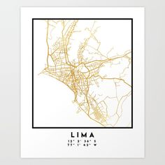 LIMA PERU CITY STREET MAP ART | An elegant city street map of Lima, Peru in gold, with the exact coordinates of the city, make up this amazing art piece. A great gift for anybody that has love for this city. You can never go wrong with gold. I love my city.