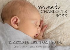 Custom Birth Announcement available as a printable JPG (for printing at the photo lab of your choice) OR professionally printed invitations on pearl paper (card stock) with white envelopes (FREE standard shipping). You may include a second photo to be printed on the back of the announcement for no additional cost. >This item includes: >>5x7 JPG file for printing at a photo lab OR >>5x7 Flat printed invitations on pearl 130# paper (card stock) with white envelopes. Pearl paper h...