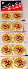 YAPREE HANDMADE GOLD AND RED OM STICKERS : SET 10 LARGE STICKERS