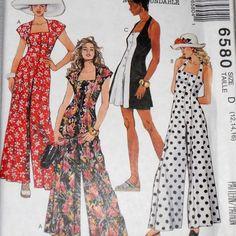 Sewing Pattern - Fun Flirty Jumpsuit Romper 1990s Pattern. Deep Square Neckline. Halter Sunsuit. Beach Travel Vacation Dressing.  McCalls 6580