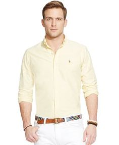 Polo Ralph Lauren Men's Classic Fit Long Sleeve Solid Oxford Shirt In Yellow White Pants Outfit, Polo Outfit, Shirt Outfit, Mexican Outfit, Mens Fashion Suits, Man Fashion, Sports Shirts, Casual Shirts, Men Dress