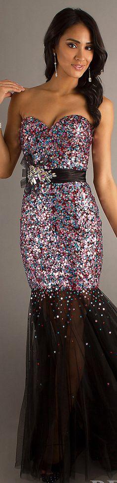 Formal long dress #strapless #glitter #mermaid
