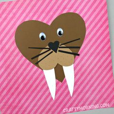 The boys got a kick out of this Valentine's Day craft…a heart walrus!! Isn't he the cutest? Supplies Needed: Brown, tan, black, and white card stock paper Glue Scissors 2 Googly eyes Start by cutting out a big brown heart for the face. Then a tiny black heart nose, a rounded mouth heart, 2 white …