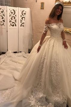 Off The Shoulder Long Sleeves Appliques Ball Gown Wedding Dress WD163