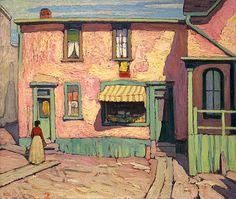 Lawren Harris Italian Store in the Ward, Chestnut Street, Group of Seven Tom Thomson, Emily Carr, Group Of Seven Artists, Group Of Seven Paintings, Canadian Painters, Canadian Artists, Illustrations, Illustration Art, Building Art