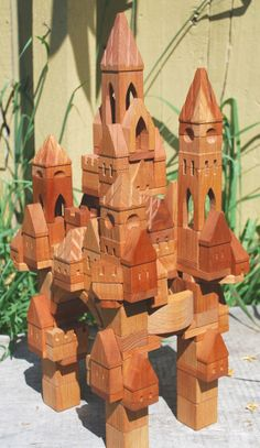 133pc Castle Building Blocks (unfinished), by blocksmith on Etsy