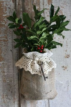 Burlap,lace bag hanger. Country Christmas