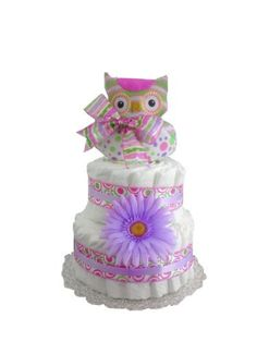 Items similar to Pink and Purple Polkadot Baby Owl Diaper Cake Baby Shower Gift Set - 2 Layer on Etsy Baby Shower Diapers, Baby Shower Cakes, Baby Shower Gifts, Owl Shower, Shower Ideas, Owl Diaper Cakes, Owl Parties, Baby Owls, Purple