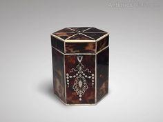 Antiques Atlas - 19th Century Tortoiseshell Hexagonal Tea Caddy