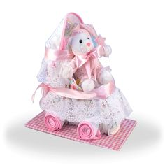 More - Diaper Carriage Baby Girl Gift. Diaper Carriage Baby Girl GiftBuilt in the USA! Our precious Baby Diaper Carriage is a unique twist on the conventional baby diaper cake. Cute Baby Gifts, Baby Girl Gifts, New Baby Gifts, Baby Shower Diapers, Baby Shower Gifts, Diaper Carriage, Baby Girl Gift Baskets, Baby Shower Table Centerpieces, Unique Baby Shower