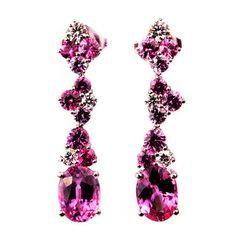 Mark Patterson Pink Sapphire Diamond Dangle Earrings   1stdibs.com