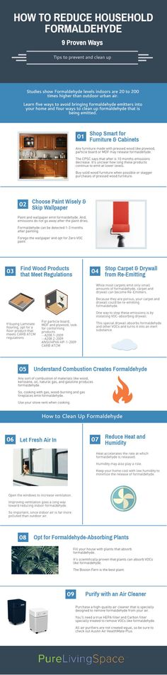 Indoor levels of formaldehyde are 20 to 200 times higher than outdoor urban air. Learn how to prevent and clean up household formaldehyde. PIN this important infographic for proven tips for a healthier home life.