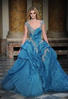 Bridesmaid's dress for Water/Ocean?  As you can see - I'm going for all out, full, detailed, runway looks.  This one is by Zuhair Murad by the way. I particularly dislike her makeup however.
