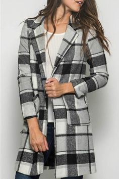 She & Sky Grey Plaid Coat
