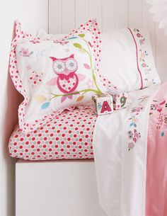 Twitta Twoo is a cute nursery collection by Baby Kas featuring embroidered little night owls and flowers in subtl. Owl Bedding, Linen Bedding, Bed Linens, Kids Bedroom, Bedroom Decor, Bedroom Ideas, Matching Bedding And Curtains, Toddler Rooms, Pink Owl