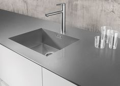 stainless steel benchtop thin edge - Google Search