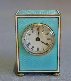 Antique Swiss sub miniature silver gilt & guilloche enamel carriage clock in original case. - Gavin Douglas Antiques