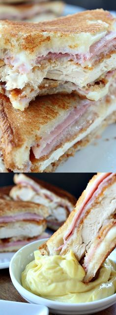 Chicken Cordon Bleu Grilled Cheese Sandwich -  the ultimate comfort food! It's cheesy with all of your favorite Cordon Bleu flavors grilled into one delicious sandwich that everyone will go crazy for!