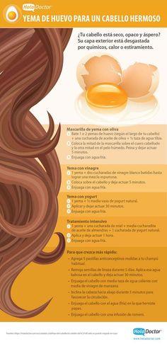 Yema de huevo para tener un cabello hermoso. #infografia #belleza #huevo