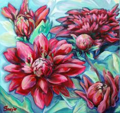 Red Couple art Oil Painting Print by Snejana Videlova, oil print, red dahlia pink, happy, optimistic art for sale by SnejanaArt on Etsy