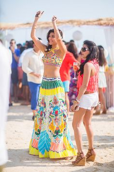 funky, neon, skimpy, beach wedding outfit, printed lehenga, digital printed mehendi outfit with bustier tube blouse, destination beach wedding , skirt and top, edgy , offbeat, quirky lehenga