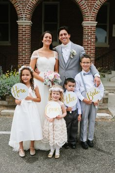 Olivia Gird Photography. CT Wedding Venue. Here Comes the Bride Signs. Flower Girl and Ring Bearer Inspiration. New England Wedding.