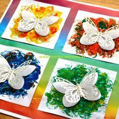 Stránky pro tvořivé - malé i velké - Jaro - Duhový obrázek s motýlky Diy Arts And Crafts, Diy Crafts For Kids, Projects For Kids, Paper Crafts, Valentine Crafts For Kids, Mothers Day Crafts, Summer Crafts, Exploding Gift Box, Easy Art For Kids